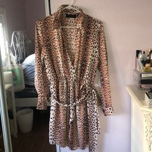 Orange Cheetah Print  Dress